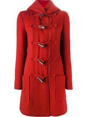 芸能人がCM canon pixusで着用した衣装赤のロングダッフルコート