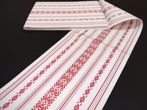 ちどりの浴衣帯 半幅帯 博多織 白地 赤 献上 正絹 細帯