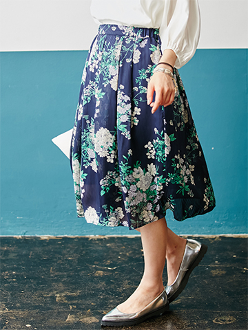 FABIAの日本製シアーストライププリントスカート