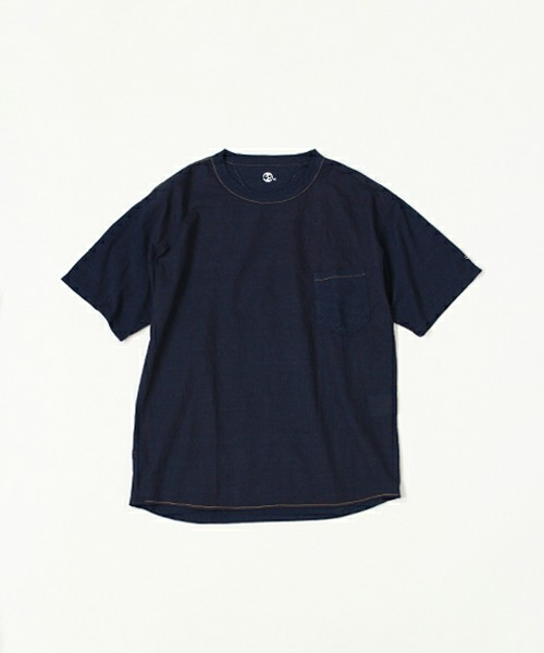 45Rのインディゴ布帛×天竺Tシャツ