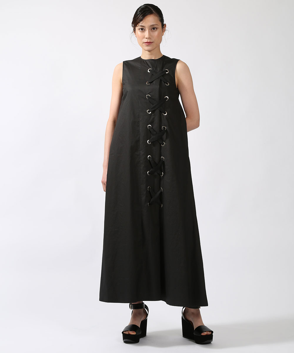 Yasutoshi EzumiのLace up A line one piece dress