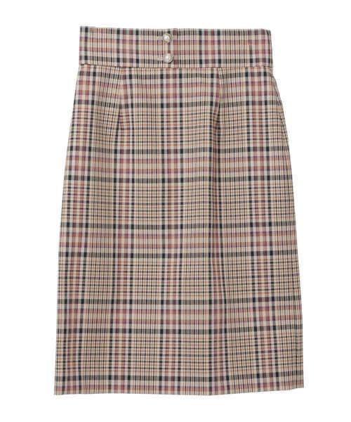 31 Sons de modeのパール釦付きチェックタイトスカート