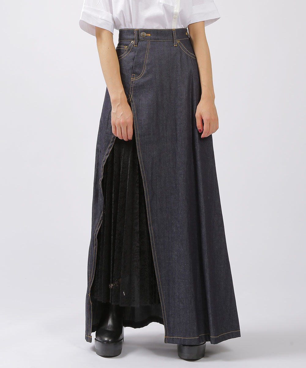 EZUMiのPleats lace denim skirt
