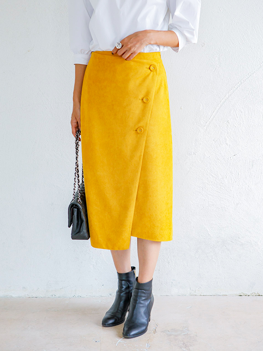 NORM by hironのFake suede wrap skirt yellow