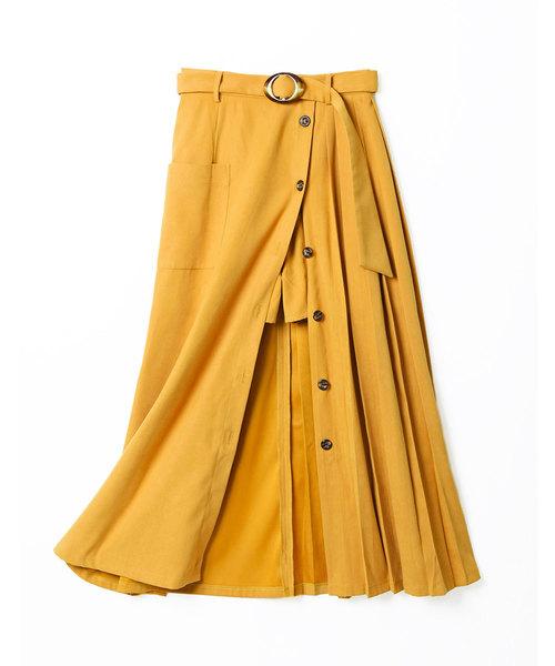 REDYAZELのインナーパンツ付フロントボタンプリーツスカート