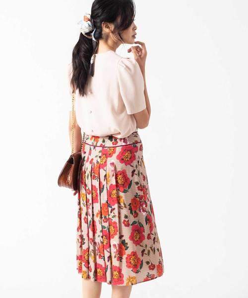 ANAYIのモノグラムフラワープリントプリーツスカート