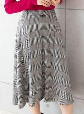 PREFERIRのグレンチェックフレアスカート