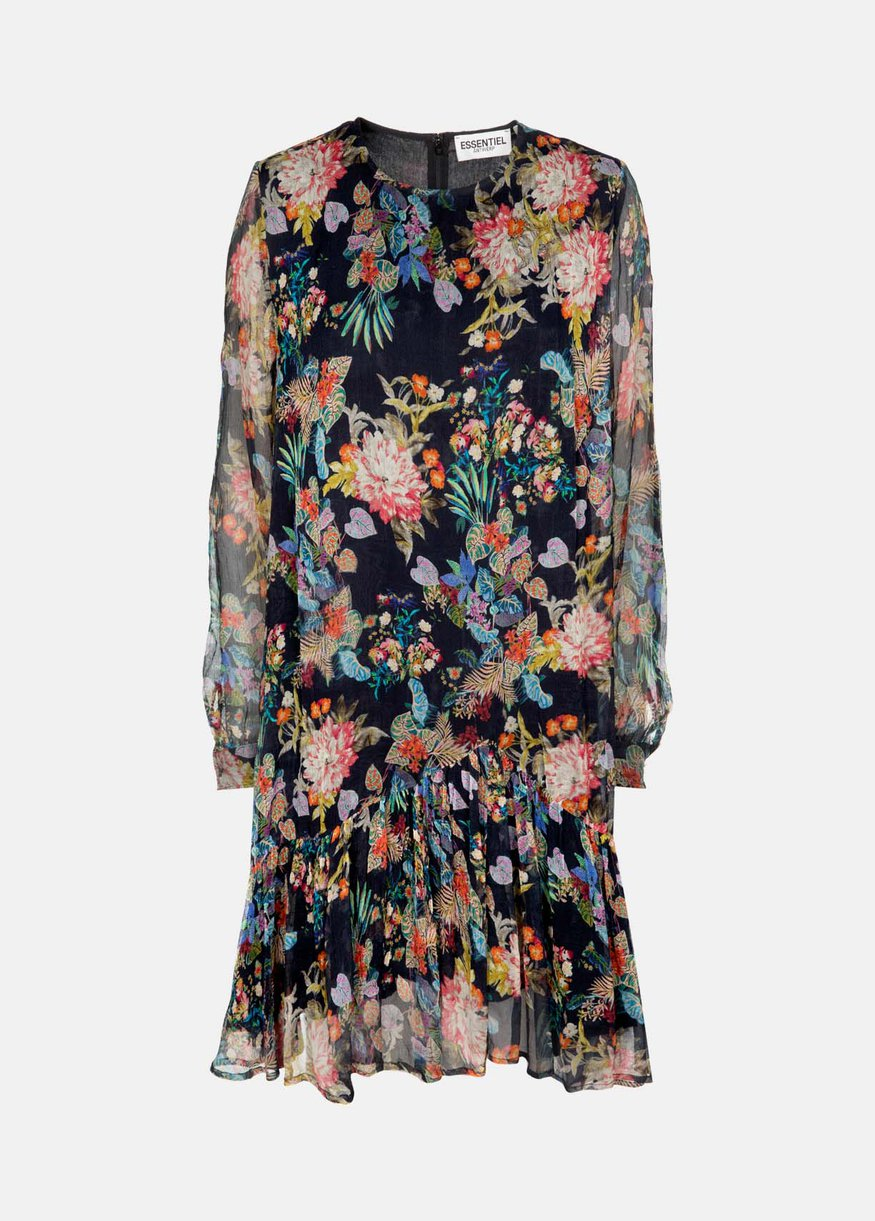 Essential AntwerpのFLORAL PRINT SHEER FRILL DRESS
