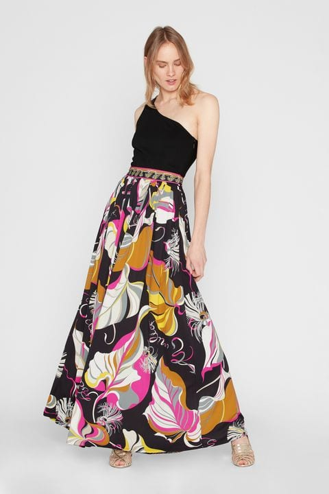 Emilio PucciのFrida Print Silk One Shoulder Evening Dress