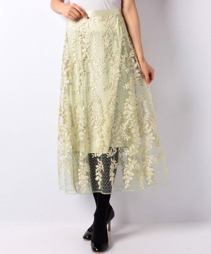 JUSGLITTYのリーフ刺繍ロングフレアスカート