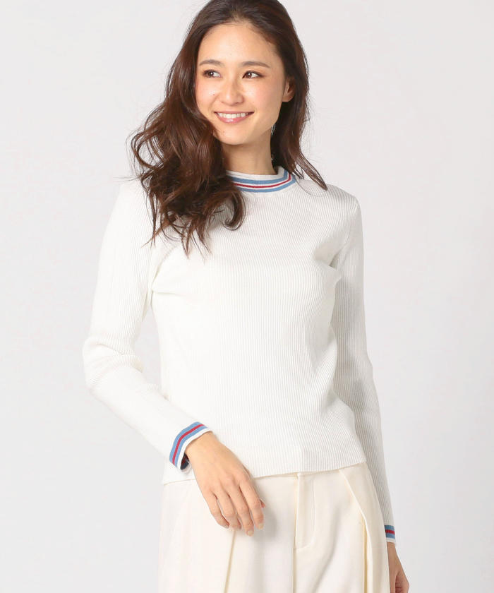 MEW'S REFINED CLOTHESの洗えるライン入りニット