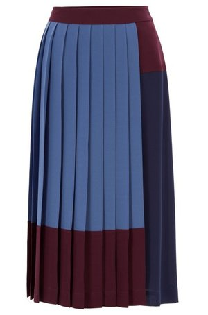 HUGO BOSSのA-line skirt in stretch crepe with colourblock design
