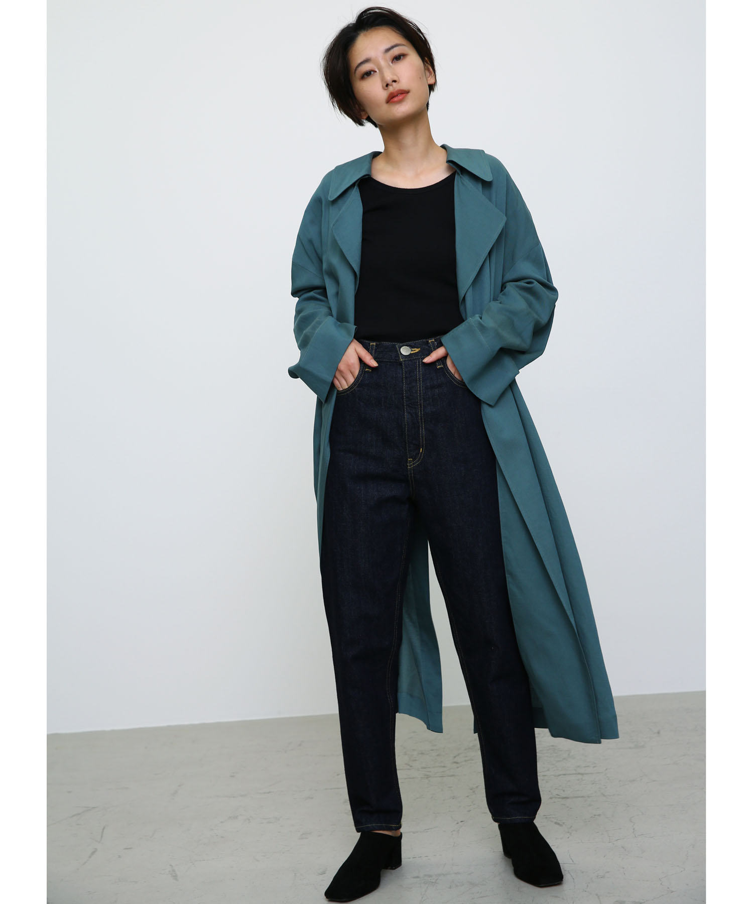 BLACK BY MOUSSYのdrape trench coat