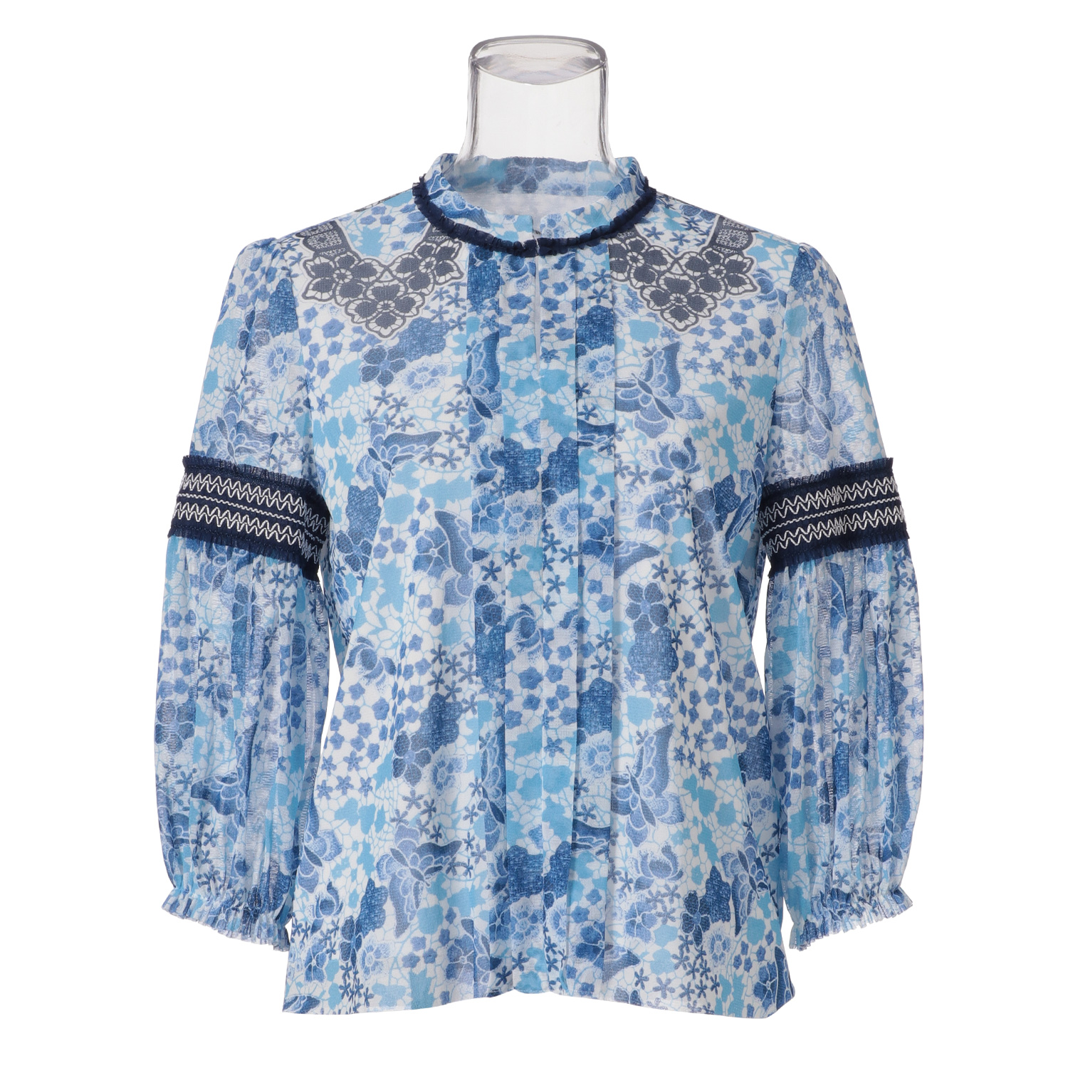 VIVIENNE TAMのBUTTERFLY LACE PRINTED ON NETTING BLOUSE