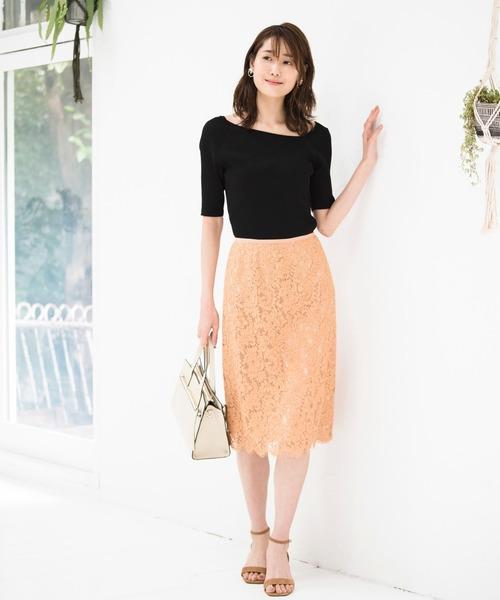 ANAYIのパネルレースタイトスカート