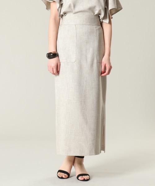 Tiaraのリネンライクサイドベンツタイトスカート