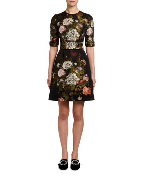 Dolce & Gabbanaの1/2-Sleeve Baroque-Rose Jacquard Dress