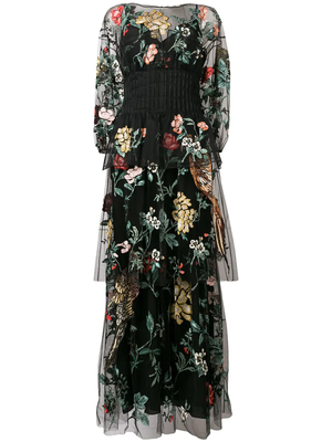 FENDIのfloral bird tulle embroidered dress