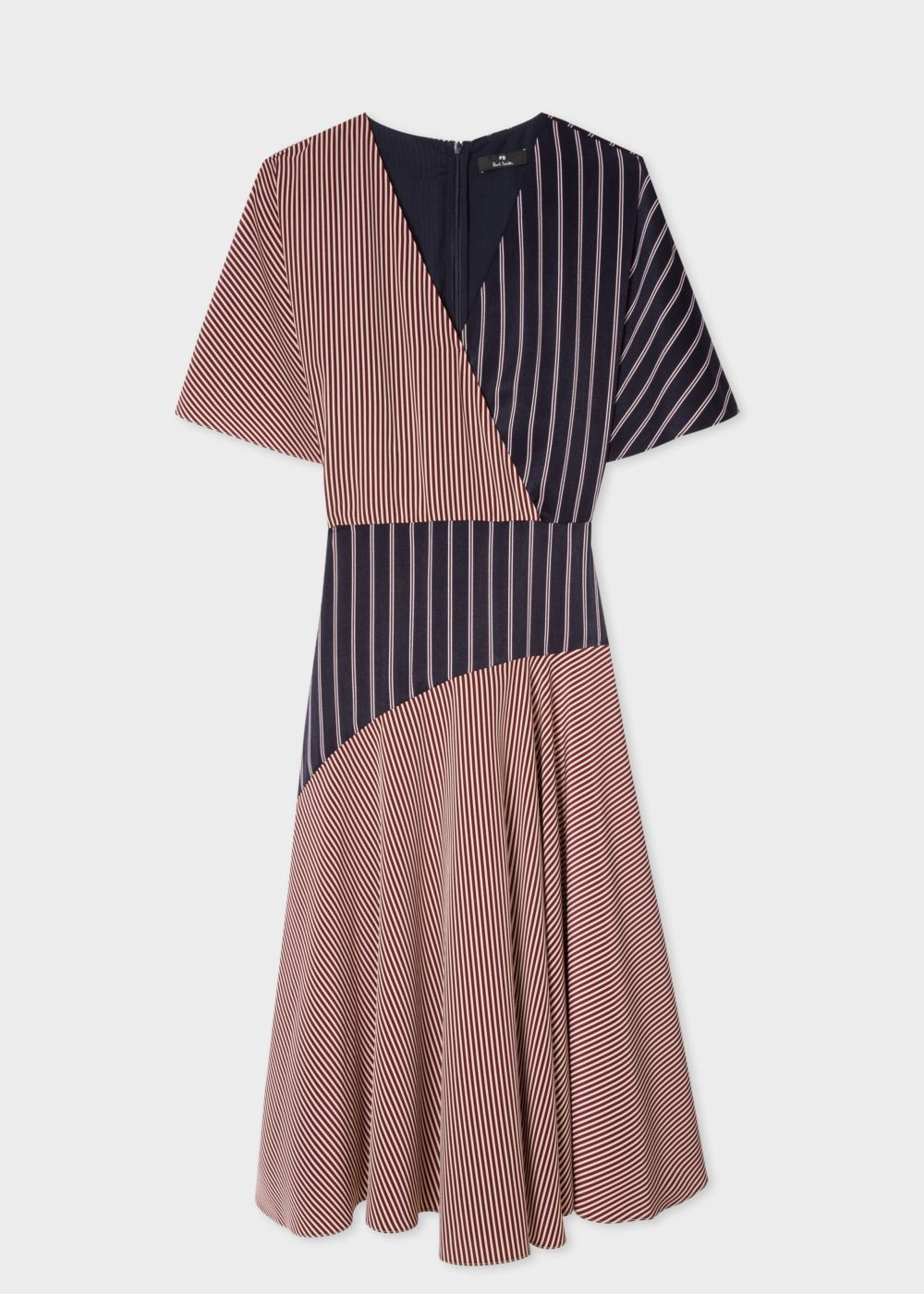 Paul SmithのDark Navy Panelled Stripe Wrap Midi Dress