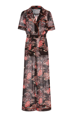 ANNA SUIのHibiscus Islands Cotton-And-Silk-Blend Jumpsuit