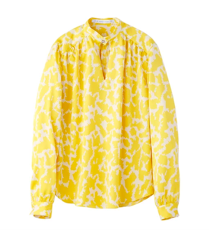 JOHN LAWRENCE SULLIVANのWOMENS FLOWER PRINTED SATIN HI-NECK BLOUSE