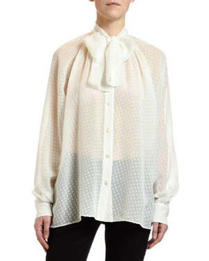 Dolce & GabbanaのSmall-Dot Fil Coupe Tie-Neck Blouse