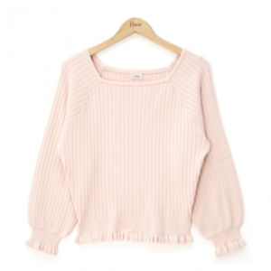 flowerのsquare frill rib knit